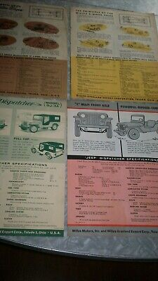 1950s, Willys advertisments. (4) Sedan delivery, Wagon, Jeep, dispatcher.