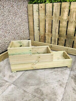 Handmade Large Decking 3 tier wooden garden planter. 90x30x39. Father's Day Gift