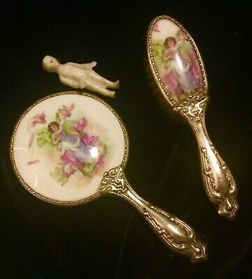 Victorian Miniature  Silver Child's Porcelain Fairy Mirror & Brush