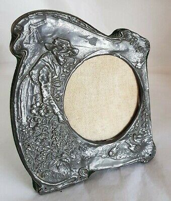 Antique photograph frame . Pewter mount. Art nouveau period. Circa 1900..1910