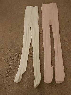 Two Pairs Of Girls Tights 7-8 Years