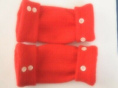 Fingerless Gloves Red Women's Wool Lambswool Size S - M Small - Medium Texting ^