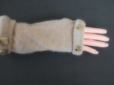 Fingerless Gloves Camel Tan 100% Cashmere Women's One Size Fits Most S M L Text