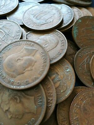 5 x OLD ENGLISH HALF PENNY COINS - DIFFERENT DATES