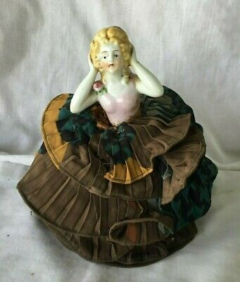 *Vintage Half Doll Lady Porcelain Sewing Pin Cushion