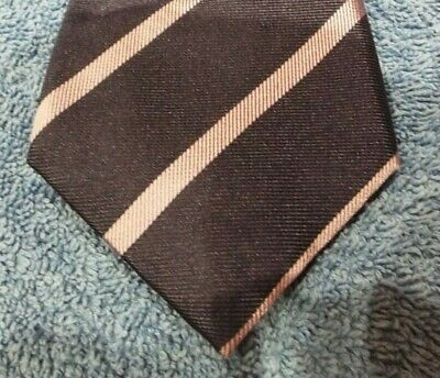 TM Lewin Navy Blue with Purple Striped 100% Silk Tie Classic