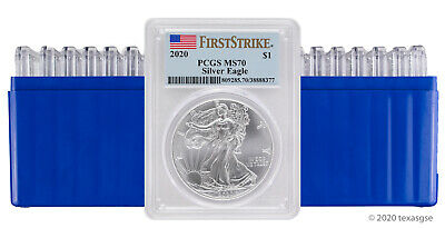 2020 $1 American Silver Eagle PCGS MS70 First Strike - Lot of 20