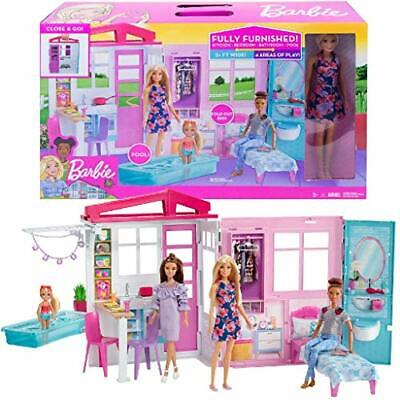 Barbie Doll and Dollhouse, Portable 1-Story Playset with Pool and...