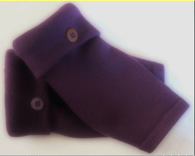 Fingerless Gloves Purple 100% Merino Wool Women's One Size Fits Most S M L Text