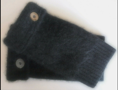 FINGERLESS GLOVES BLACK ANGORA WOOL LAMBSWOOL WOMEN'S ONE SIZE FITS MOST S M l