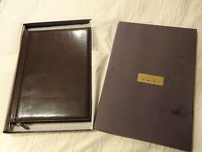 Vintage Tumi Dark Brown Leather Zipper Business Portfolio Organizer Case NEW