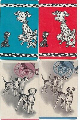 DOGS -- 4  old  single vintage swap playing cards