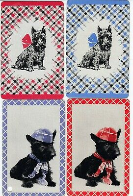 DOGS -- 4  old - single vintage swap playing cards