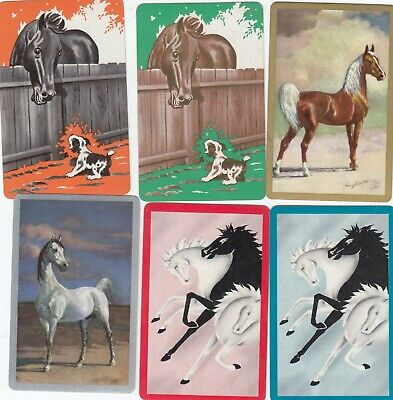 HORSES - 6   old single vintage swap playing cards