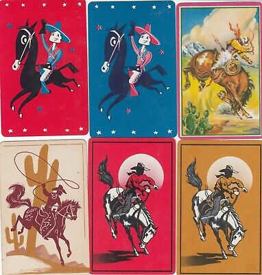 HORSES & RODEOS - 6     old single vintage swap playing cards
