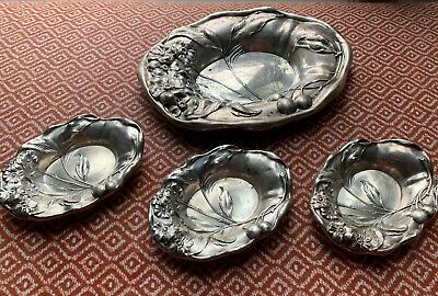 EASTWOOD-PARK COMPANY Sterling Silver 1 Lrg & 3 Small Nut Dishes Bowls Repousse
