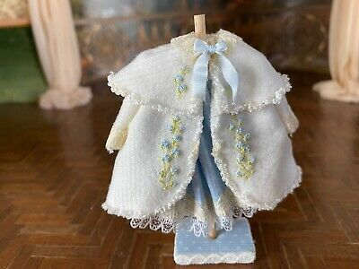 Vintage Miniature Dollhouse Artisan Little Girls Blue Display Dress Coat Capelet