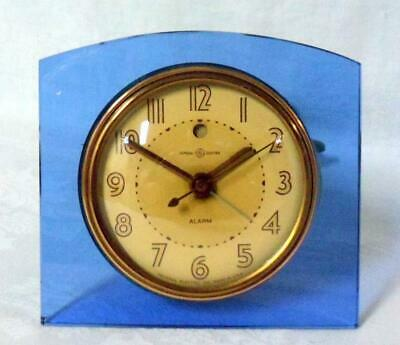 General Electric Art Deco Blue Glass Table Clock
