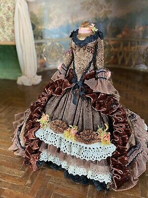 Vintage Mini Dollhouse Artisan Velvet Silk Display Brocade 1700s Gown Dress Form
