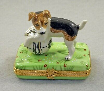 New French Limoges Box Jack Russell Terrier Dog Puppy On Grass With Flowers