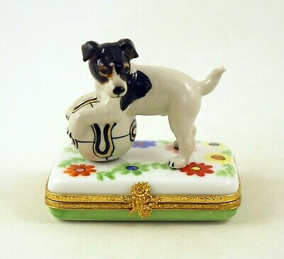 New French Limoges Box Jack Russell Terrier Dog Puppy On Beautiful Flowers