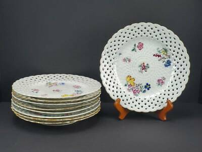 (9) 18Th C. Antique Chinese Export Porcelain Reticulated Famille Rose Plates