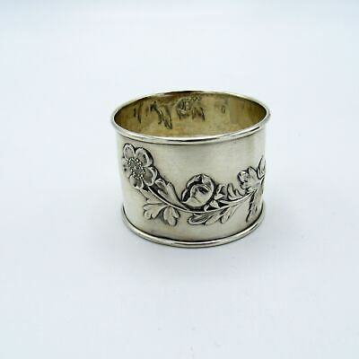 Antique Sterling Napkin Ring with Branch of Flowers, NR
