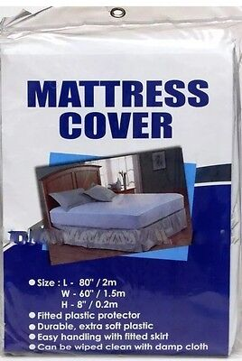 Mattress COVER Queen Size Fitted Plastic Bed Protector