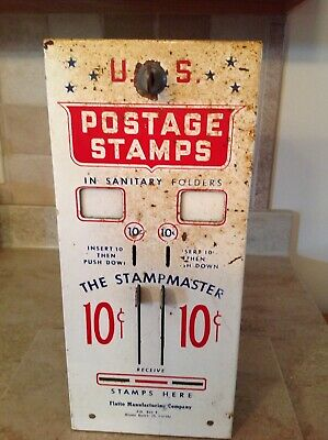 Vintage US Mail Postage Metal Stamp Machine Dispenser Coin 10/10 Cent  With KEY