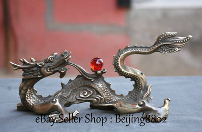 "9"" Chinese China Bronze Flying Dragon Loong Animal Ball Lucky Statue Sculpture"