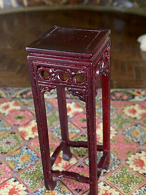 Vintage Mini Dollhouse Artisan Signed Asian Cherry Wood Carved Plant Stand