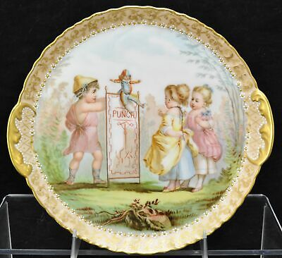 Exquisite Antique HP Haviland Limoges Childrens Punch & Judy Cabinet Plate 1893