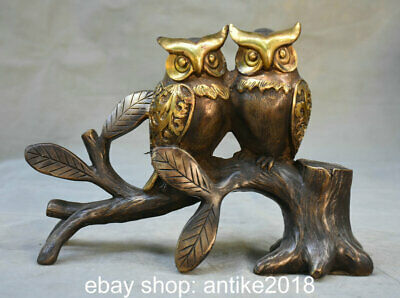 """10.8"""" Old Chinese Copper Feng Shui 2 bird of Minerva Owl Tree Luck Sculpture"""