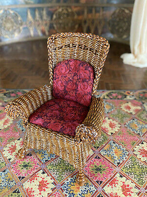 Vintage Mini Dollhouse Artisan Wilhemina Miniatures Wicker Chair Velvet Cushions