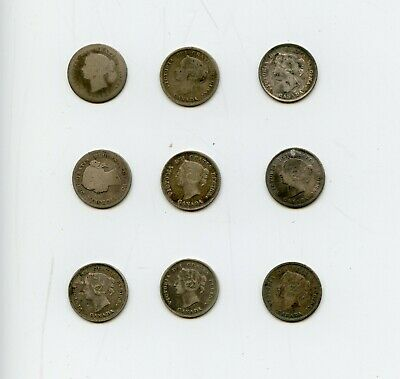 (8) Canadian Victoria .925 Silver 5c Nickels Lot-8 Different 1874-1897-g-vg-f-AE