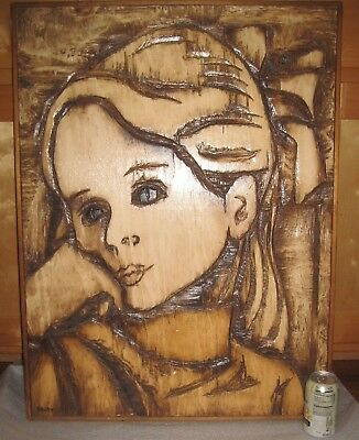 "LISTED ARTIST❤️Jean-Claude GAUGY_VINTAGE RELIEF WOOD CARVING_GIRL_HUGE 33"" X 24"""
