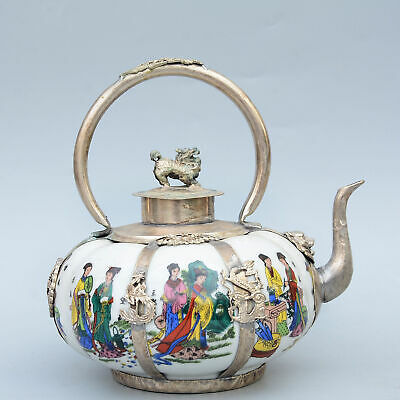Collection Old Miao Silver Armour Porcelain Carve Dragon Paint Fairy Fine Teapot