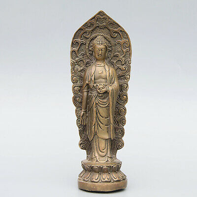Collectable China Old Bronze Hand-Carved Buddhism Kwan-Yin Auspicious Statue