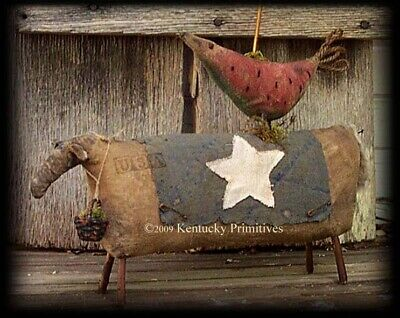 PATRIOTIC ~ Early American Sheep and Watermelon Crow ~ Primitive DOLL PATTERN