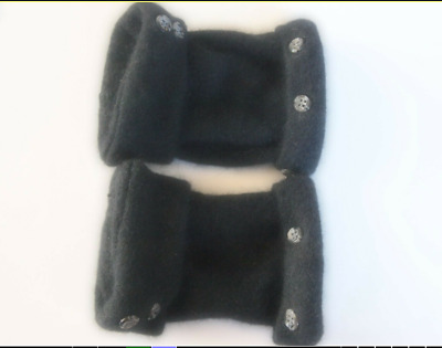 Fingerless Gloves Black Women's Angora Wool One Size Fits Most S M L Texting
