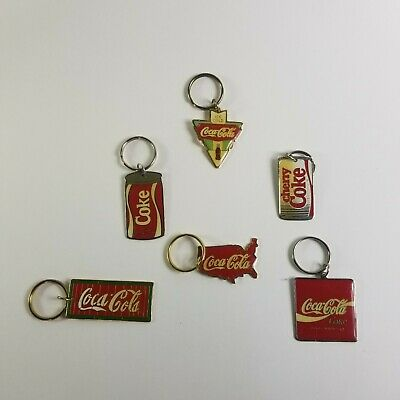 Lot of 6 Coca Cola Keychains Sold at THE LUXOR CASINO in 1997 Price Tag attach