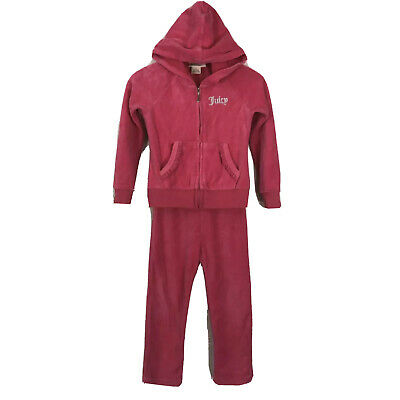 Juicy Couture Girls 2 Piece Velour Tracksuit Outfit 4 Pink Toddler Girl Set