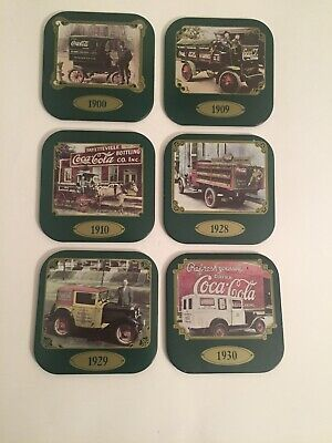 Coca-Cola 6pc Coaster Set 1990 Vintage Delivery Trucks Of Early 1900s