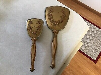 Vintage Mirror and Brush Set Gold Tone