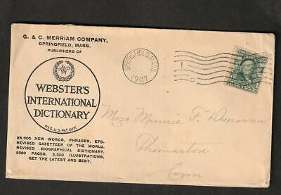 1907 Postal History Cover, Webste's  International Dictionary Advertising, Mass.