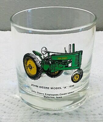 """Vintage John Deere Employees Credit Union Model """"A"""" 1938 JD Collector Glass"""