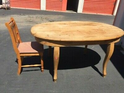 ANTIQUE PINE/OAK OVAL DINING TABLE WITH FOUR reproduction CHAIRS