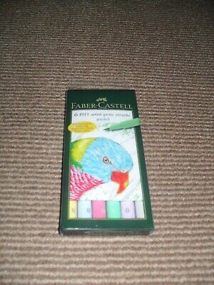 Faber Castell 6 Pitt Artist Pastel Drawing Pens - New & Sealed