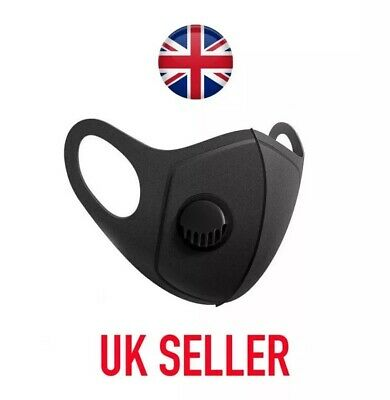Mouth Face Mask | Reusable / Washable | Anti Virus Dust Mask Black Filter Valve