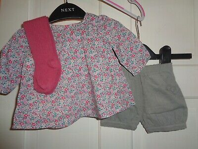 M&S Shorts & Tunic Top & Tights Set  - 0-3 Months